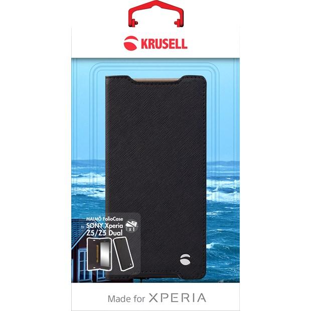 (贈專用保貼+支架)Krusell 側掀皮套/SONY Xperia Z5/手機套/手機殼/保護皮套/書本套【馬尼通訊】