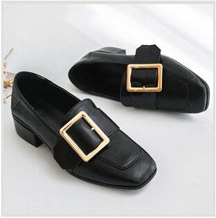 Pyf♥經典英倫風復古皮帶扣小皮鞋方頭粗低跟兩穿舒適學生鞋45大尺碼女鞋