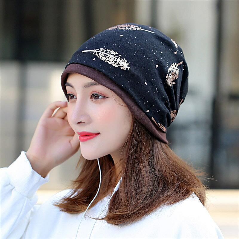 新款帽子女士春季包頭帽燙金韓版百搭堆堆帽多功能包頭月子帽
