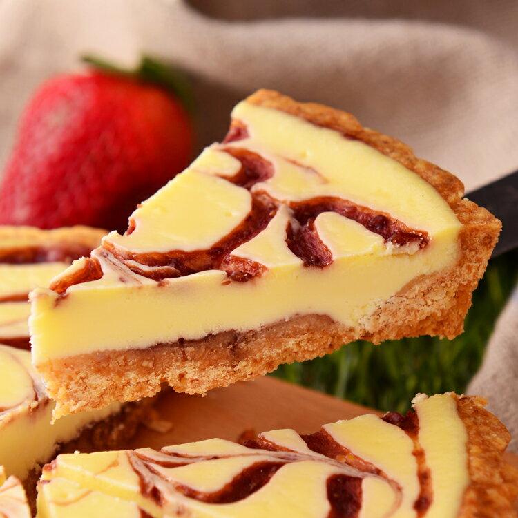 草莓乳酪派6吋【美地瑞斯】★純濃自製手工草莓醬→新鮮草莓自製果醬搭配濃郁乳酪,大理石花紋般的美麗外表,視覺、味覺享受一次滿足!#草莓蛋糕#免運 4