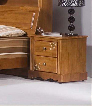 【尚品家具】776-03 田間鄉村彩繪全實木房間收納床邊櫃床頭櫃