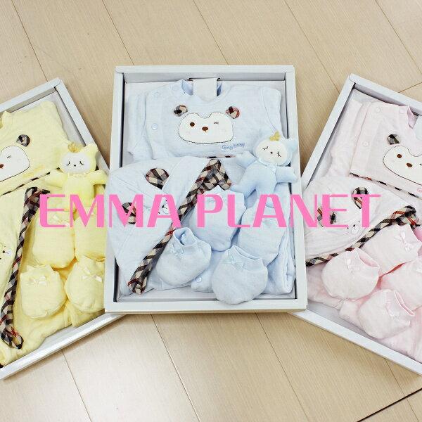 冠王子小熊兩用兔裝+帽+手套+腳套+布偶禮盒 藍/粉