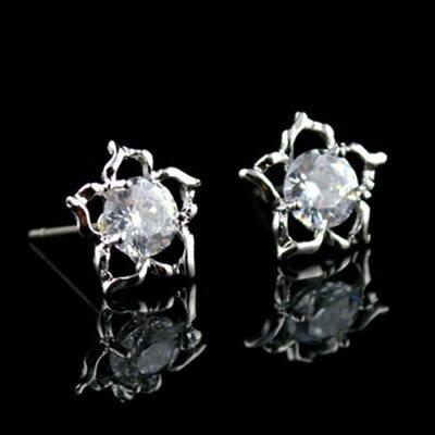 925純銀耳環鑲鑽耳飾~ 星星 生日情人節 女飾品2色73hz63~ ~~米蘭 ~