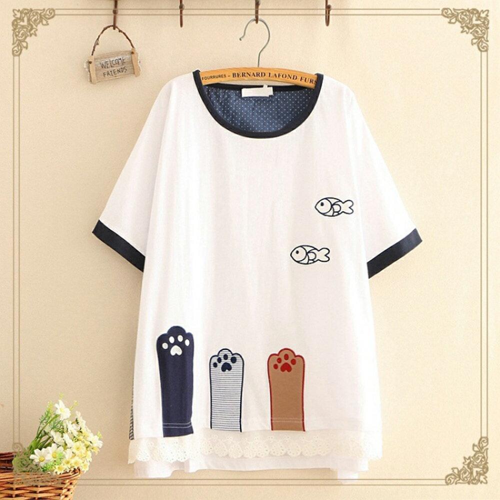 森女小清新三隻貓腳刺刺繡短袖T恤(2色F碼)【OREAD】 0