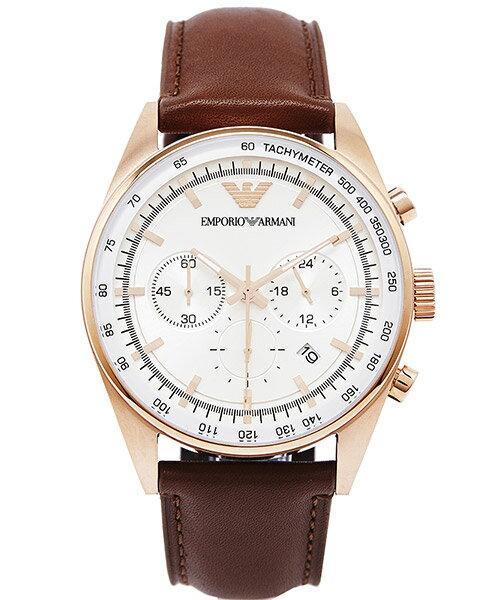 EMPORIO ARMANI/AR5995 王者競速計時腕錶/白面42mm