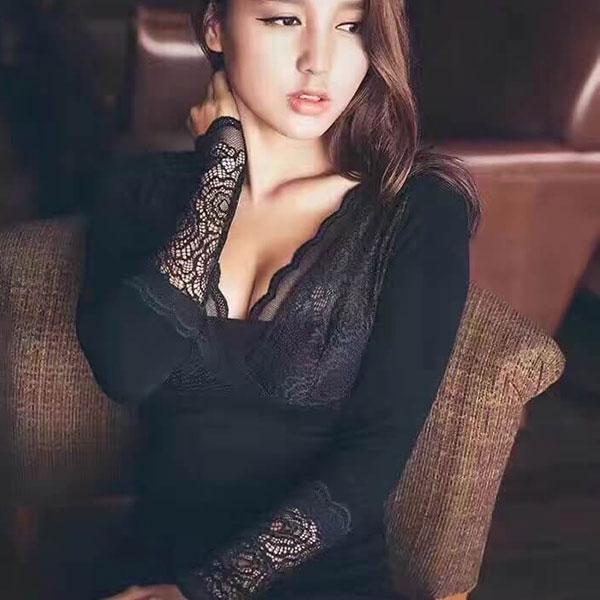 女神加絨塑身衣 發熱衣 恆溫衣 內搭衣 刷毛 保暖 深V 蕾絲 性感 爆乳 上衣 韓 水貂絨