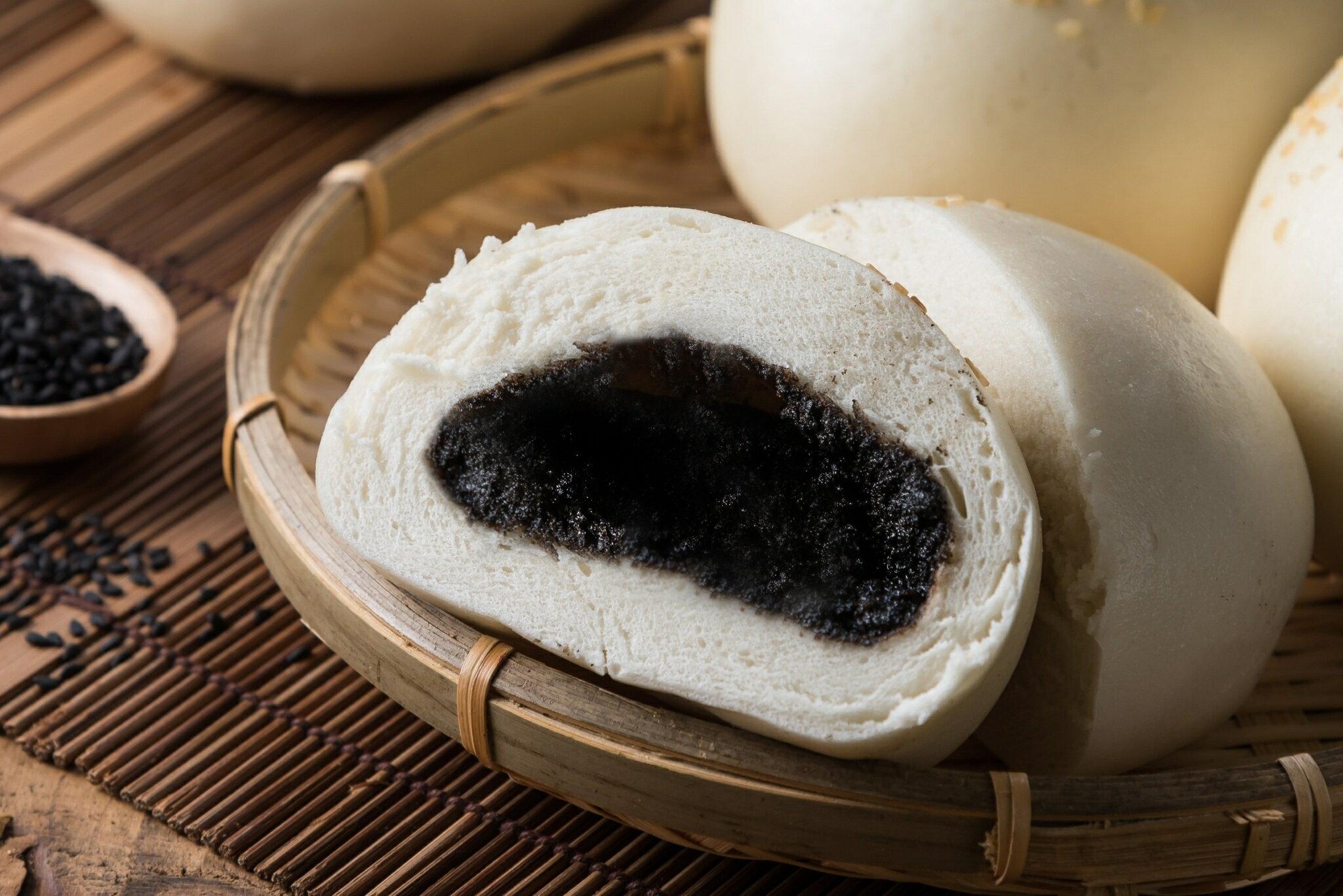 【简单馒头】芝麻包 5入组(100g/个) 馒头/包子/团购/冷冻食品/芝麻/甜点
