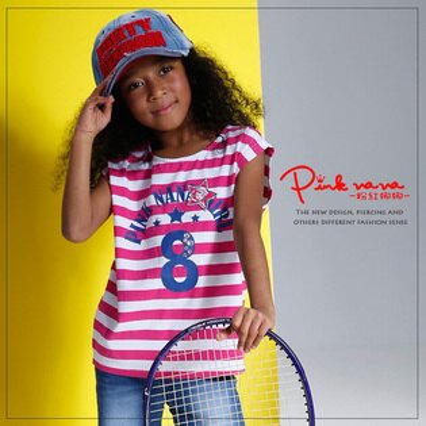 Pink Nana:PINKNANA童裝女童海軍風條紋純棉t恤中大童數字印花無袖上衣33190