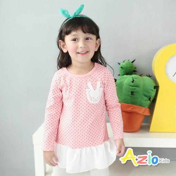 《Azio Kids 美國派 童裝》上衣 蕾絲貼布點點雪紡下擺長袖上衣(粉)