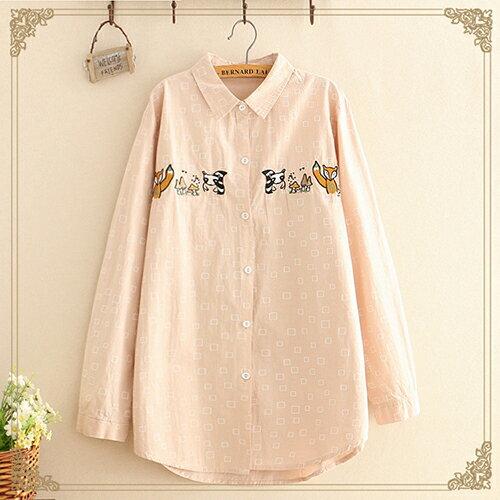 日系森女翻領方塊蘑菇長袖襯衫(3色F碼)【OREAD】 2