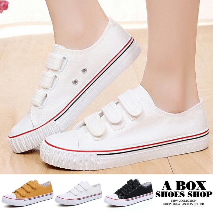 【ADW896】時尚經典基本款 魔鬼氈魔術貼穿拖 小白鞋 帆布鞋 休閒鞋 3色