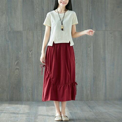 棉麻套裝文藝小清新上衣+ 繫帶中長裙(2色M~2XL)【OREAD】 0