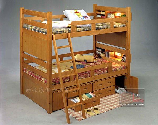 【尚品傢俱】YC-2 新麻吉雙櫃雙層床(含抽屜、電燈)