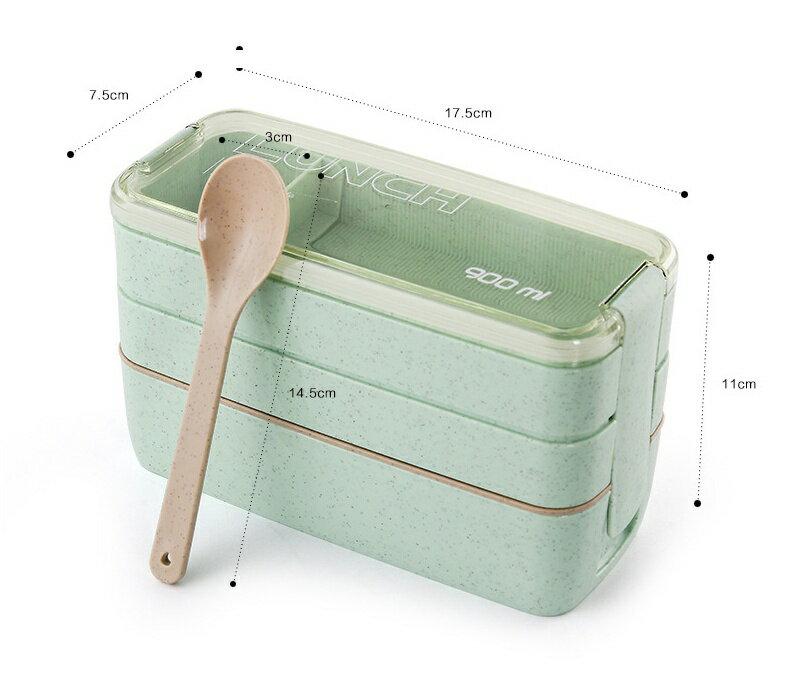 【日式三層x現貨供應】小麥日式三層分隔便當盒 附收納袋 可微波【HLKCTW06】