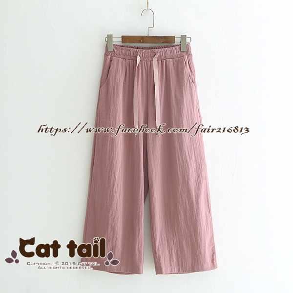 《貓尾巴》LZ-03306簡約純色收腰闊腿七分褲(森林系日系棉麻文青清新)