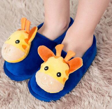 Kocotree◆秋冬新款可愛長頸鹿小鹿防滑保暖室內包鞋居家兒童包跟拖鞋-深藍色