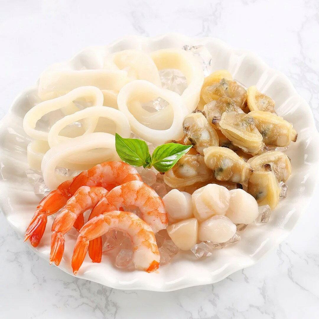 綜合海鮮拼盤(240g10%/盒)【海鮮主義】-貼體包裝商品 (含鮮蝦仁、小干貝、魷魚圈、海瓜子肉) 剛好的美味不浪費!