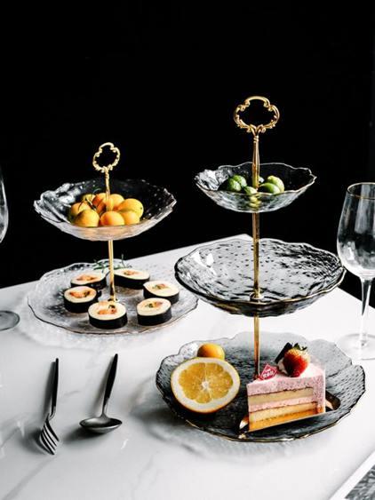 ins雙層三層水果盤玻璃糖果盤創意個性可愛現代客廳下午茶點心架