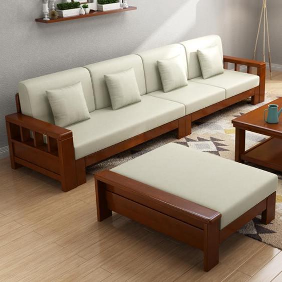 【618購物狂歡節】沙發 禧樂菲中式實木沙發組合轉角可拆洗布藝沙發大小戶型客廳整裝家具