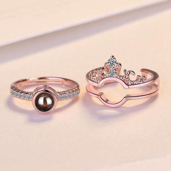戒指 皇冠二合一創意投影戒指女一種我愛你語言指環網紅抖音開口戒子潮