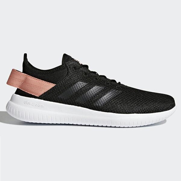ADIDASCLOUDFOAMQTFLEX女鞋慢跑休閒輕量網布透氣粉黑【運動世界】AQ1622