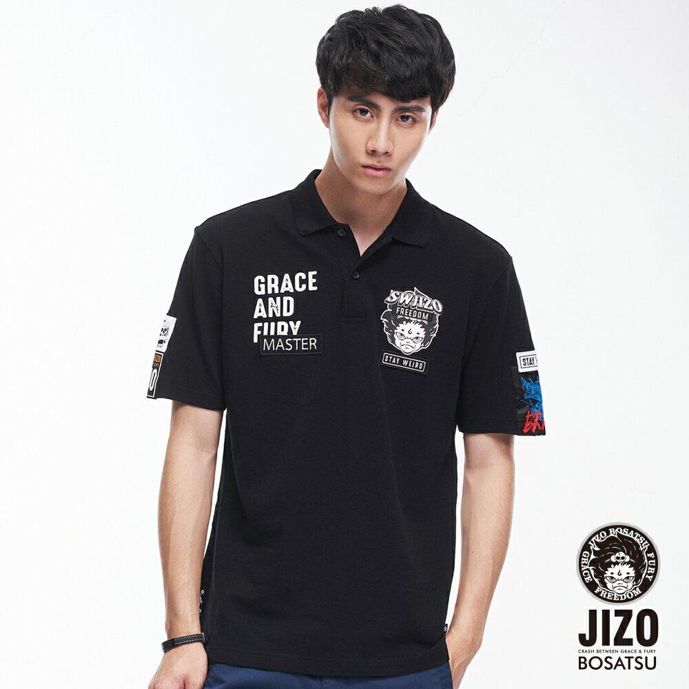 BLUE WAY   地藏小王 文字貼標短POLO衫(黑) 0