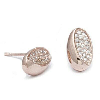 ~玫瑰金純銀耳環鑲鑽耳飾~  簡約母親節生日情人節 女飾品73dm258~ ~~米蘭 ~