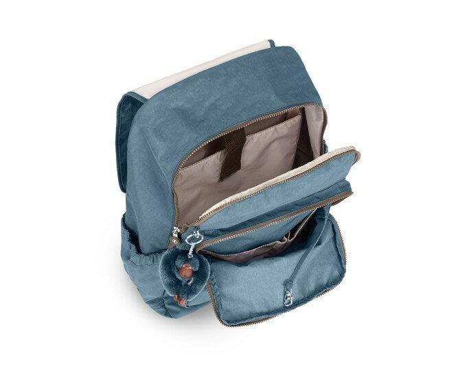 OUTLET代購【KIPLING】雙側口袋大容量旅行後背包  灰藍 2