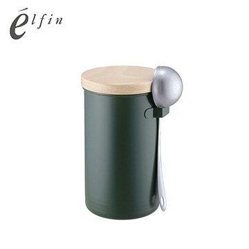 Nicegoods 生活好東西:日本高桑elfin密封咖啡罐200g附勺組-綠