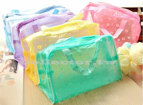 【G14040901】碎花透明防水化妝包 洗漱沐浴用品收納袋  沙灘玩水出遊必備
