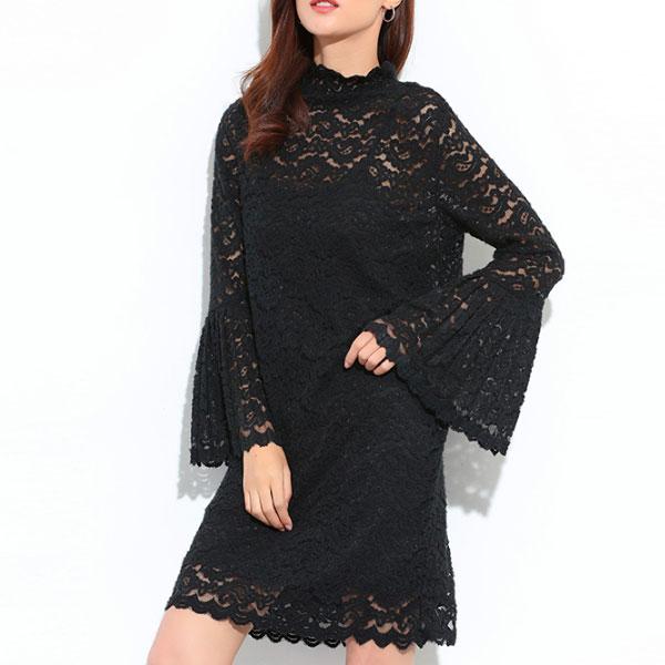 兩件式 百摺袖 蕾絲 洋裝 喇叭袖 連身裙 簍空 緹花 雕花 長袖 婚宴 婚禮 黑白 顯瘦 立領 氣質 性感 韓