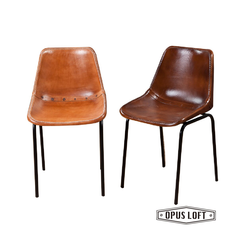 復古LOFT工業風 手套真皮椅 (淺/深咖啡)