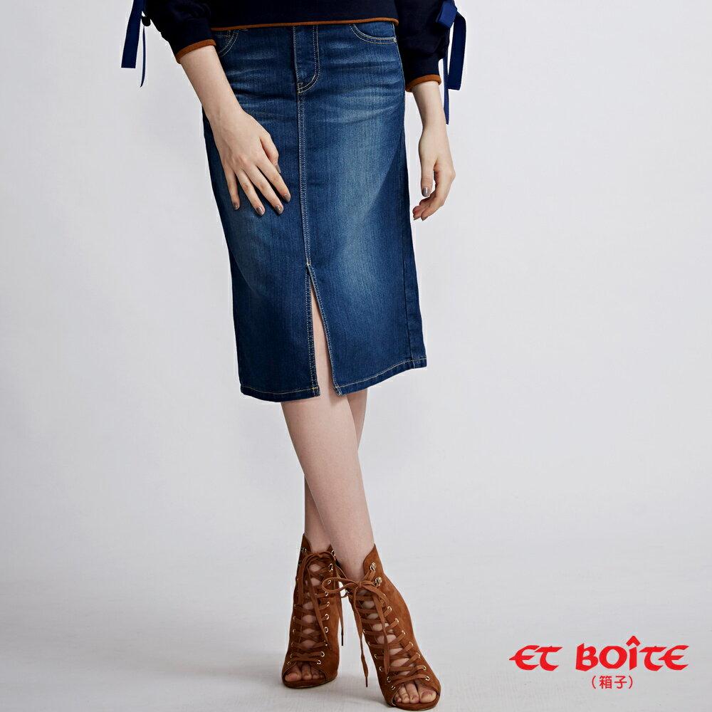 【春夏新品】經典及膝開叉丹寧短裙 - BLUE WAY  ET BOiTE 箱子 3