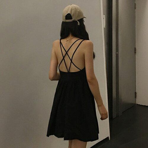 PS Mall 渡假風連身裙 V領露背交叉背心短洋裝【T703】 3