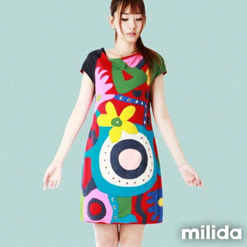 【Milida,全店七折免運】削肩袖氣質洋裝 0