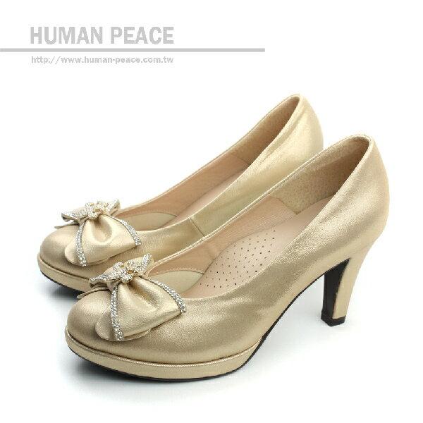 HUMAN PEACE 皮革 舒適 蝴蝶結 水鑽 好穿脫 高跟 戶外休閒鞋 金 女鞋 no162