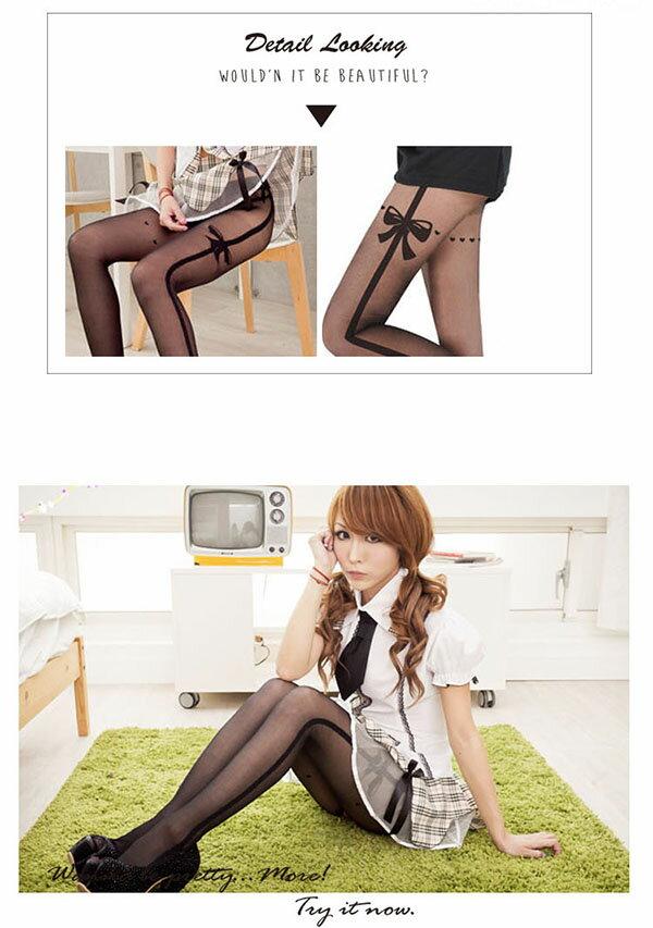 MIT優質材質絲襪透膚開檔褲襪~美腿精緻黑色絲襪~流行E線B8063 3