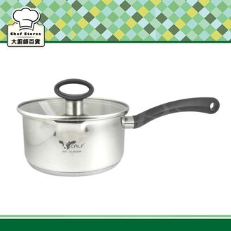 牛頭牌小牛不鏽鋼雙導角湯鍋單把20cm鍋身雙導角附玻璃蓋-大廚師百貨