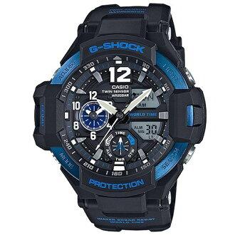 CASIO G-SHOCK GA-1100-2B湛藍飛行雙顯流行腕錶/黑面52mm