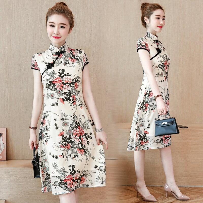 夏季新款民族風女裝復古印花連衣裙中式改良盤扣印花旗袍短裙1入