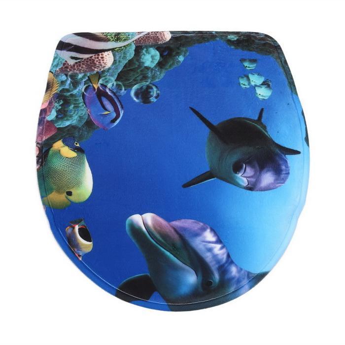 3Pcs/Set Bathroom Non-Slip Blue Shark Pedestal Rug Lid Toilet Cover Bath Mat 4