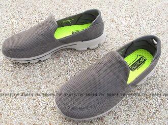 [28.5cm]《超值1680》Shoestw【54045GRY】SKECHERS 健走鞋 GO WALK3 全新Q彈底 灰方格 軟布 網布 男款