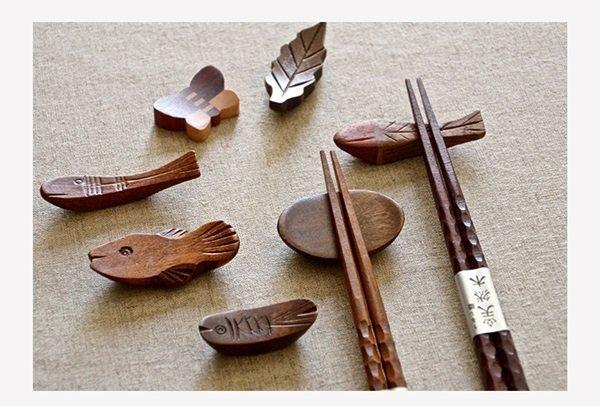 《愛鴨咖啡》手工原木筷枕 筷托 木質筷架 創意餐具