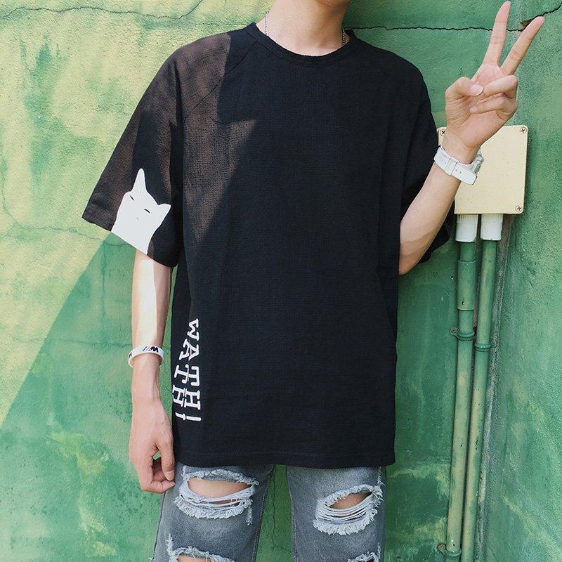 FINDSENSE H1 2018 夏季 韓國 清新 休閒 短袖 寬松 半袖 圓領 百搭 時尚 打底衫 上衣