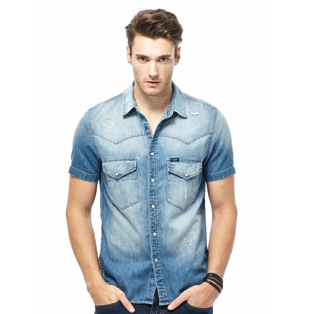 Lee 短袖牛仔襯衫 101+ 男款 中藍