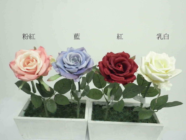 ★超低價★單支希拉蕊玫瑰-藍 / 人造花 空間 景觀 佈置 造景