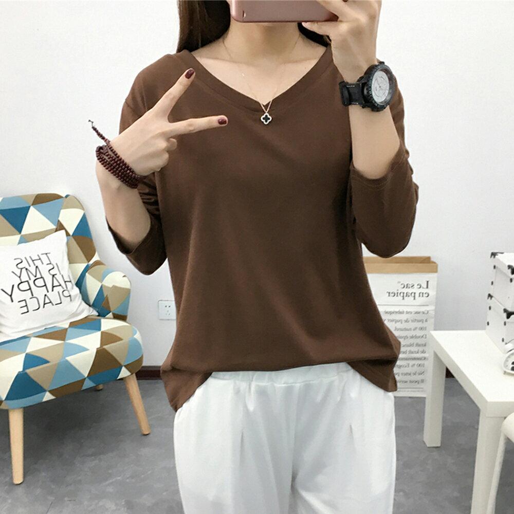 抗起球長袖雙V領寬鬆T恤(5色M~3XL)【OREAD】 4