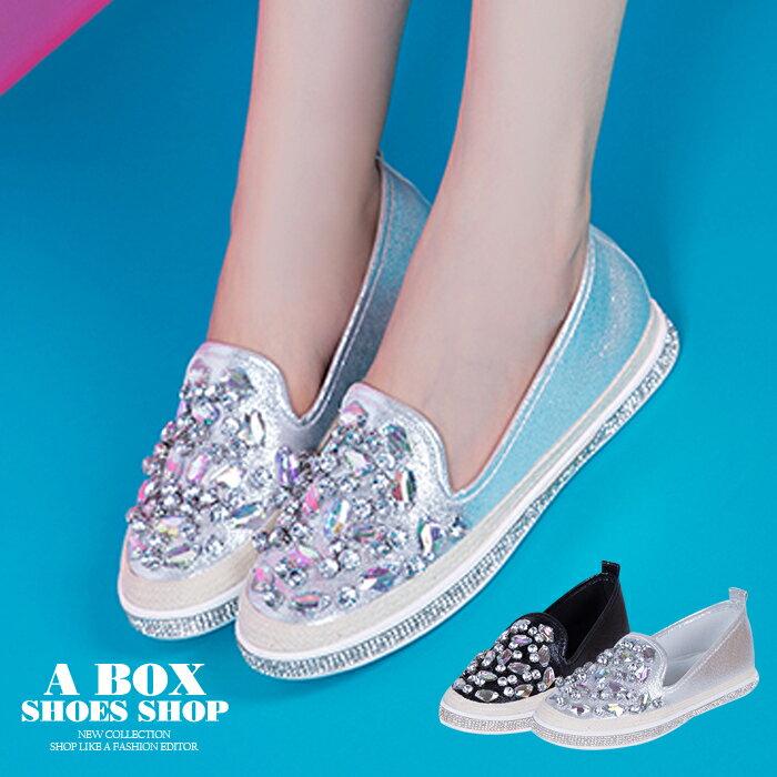 【KTTB11】套腳懶人鞋 休閒鞋 2CM跟高圓頭包鞋 時尚奢華寶石水鑽PU 2色