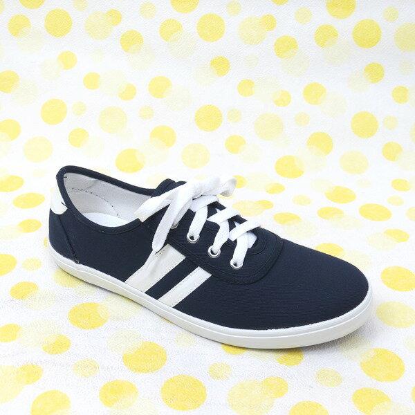 彩虹屋美鞋:*免運*經典時尚鞋帶平底休閒帆布鞋*13-8022(藍)*[彩虹屋]*現+預