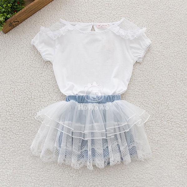 中小童短袖套裝 白色上衣背心 紗紗裙褲二件式CA24635 好娃娃